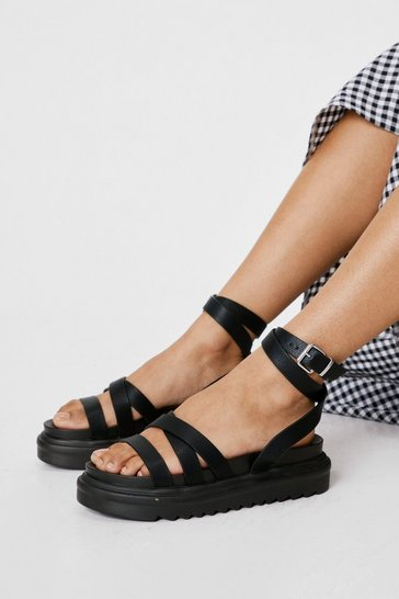 Black Wide Fit Faux Leather Cross Strap Flatform Sandals