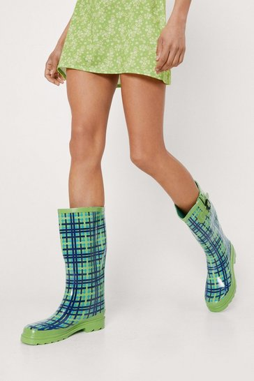 Green Rubber Checked Print Wellington Boots
