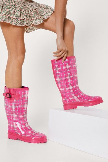 Pink Rubber Checked Print Wellington Boots