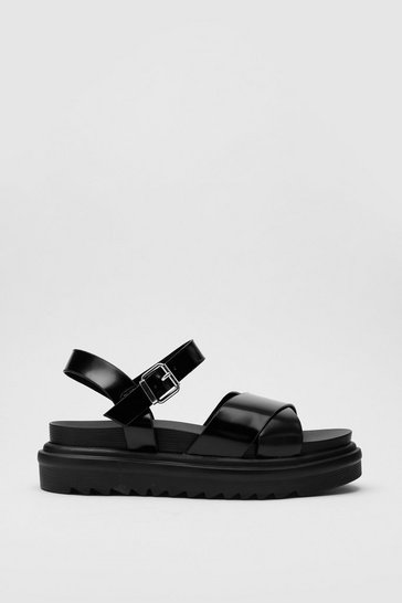 Black Faux Leather Chunky Crossover Strap Sandals
