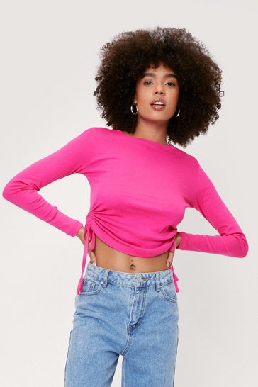 Fushia Ruched Tie Long Sleeve Crop Top