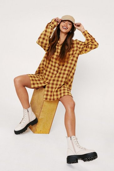 Yellow Petite Oversized Check Print Mini Shirt Dress