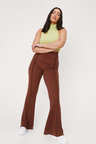Chocolate Plus Size High Waisted Exposed Seam Flare Pants