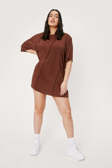 Chocolate Plus Size Seam Detail T-Shirt Mini Dress