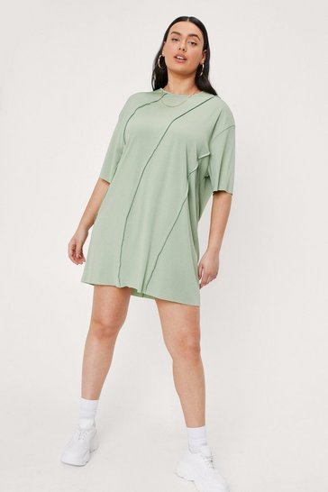 Green Plus Size Seam Detail T-Shirt Mini Dress