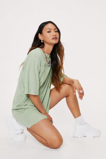 Green Petite Seam Detail Mini T-Shirt Dress