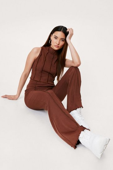 Chocolate Petite Exposed Seam High Waisted Flare Pants