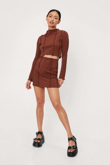 Chocolate Petite Seam Detail High Waisted Mini Skirt
