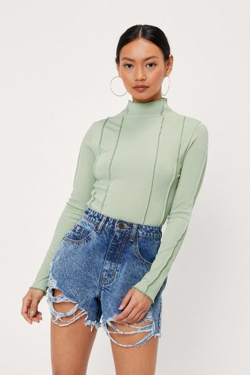 Green Petite Seam Detail High Neck Bodysuit