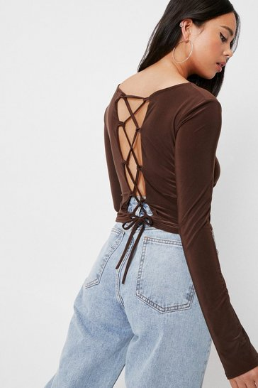 Chocolate Petite Slinky Lace Up Crop Top