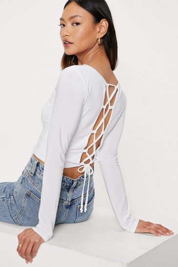 White Petite Slinky Lace Up Crop Top