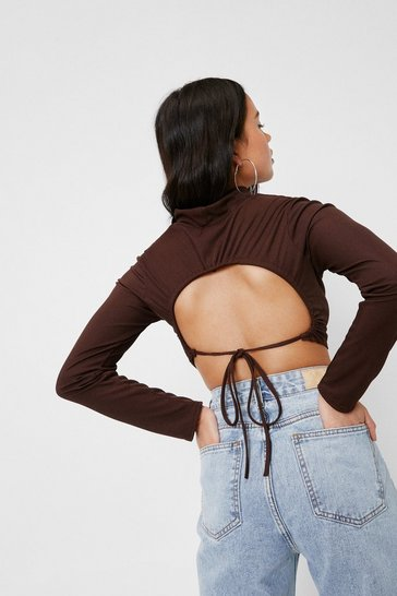 Chocolate Petite Crossover Tie Back Ribbed Crop Top