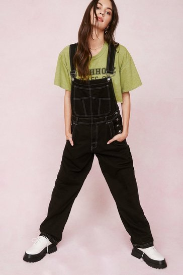 Black Vintage Oversized Straight Leg Denim Overalls