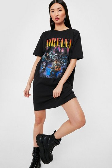 Black Nirvana Graphic Band T-Shirt Dress