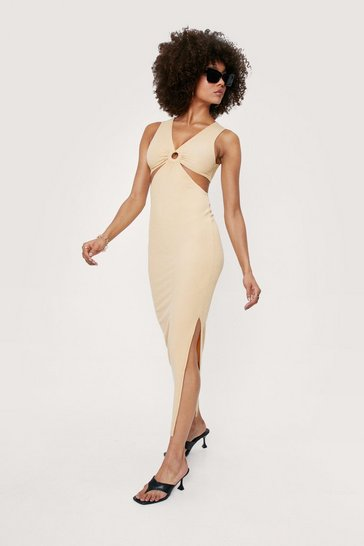 Almond V Neck Cut Out O Ring Midi Dress