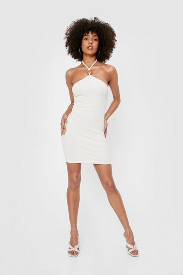 Ecru Ribbed Halter Neck Mini Bodycon Dress