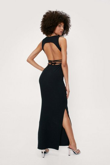 Black Scoop Neck Open Back Tie Maxi Dress
