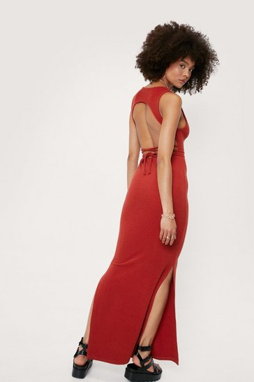 Terracotta Scoop Neck Open Back Tie Maxi Dress