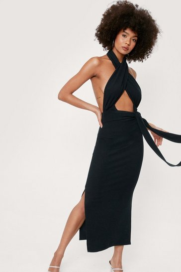 Black Halter Open Back Split Hem Midi Dress
