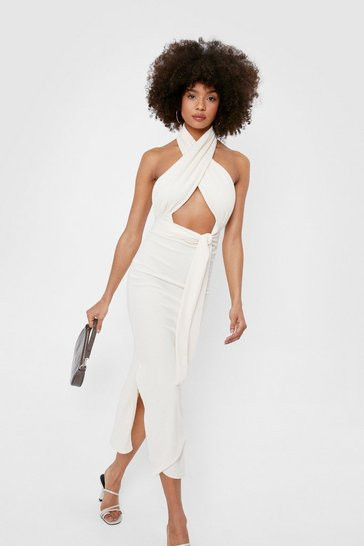Ecru Halter Open Back Split Hem Midi Dress