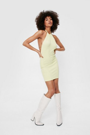 Lime Ruched Halter Neck Mini Dress