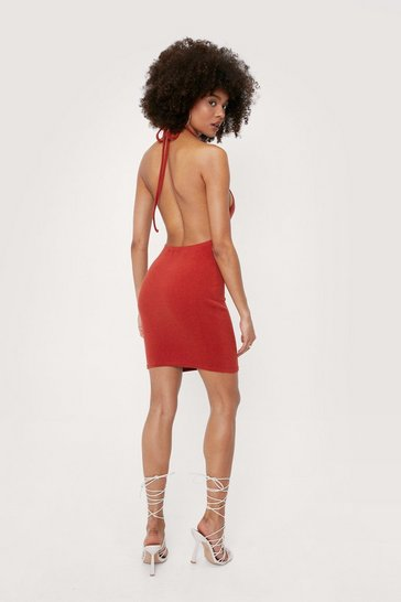 Terracotta Ruched Halter Neck Mini Dress