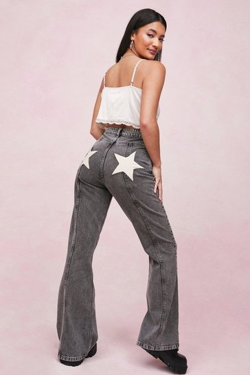 Washed black Star Back Pocket Seam Detail Flare Jeans