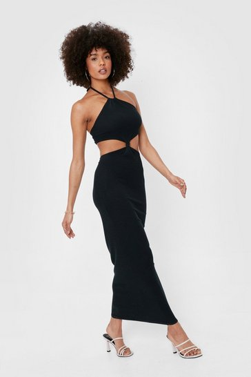 Black Ribbed Cut Out Halter Maxi Dress