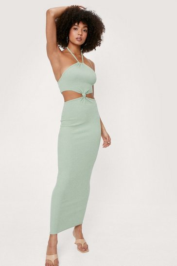 Sage Ribbed Cut Out Halter Maxi Dress