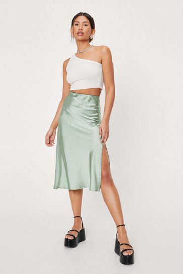Sage Satin Split Hem High Waisted Midi Skirt