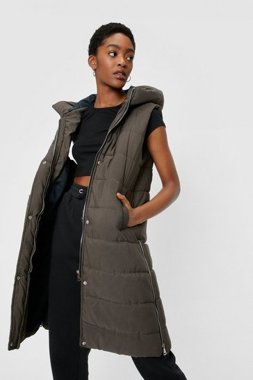 Khaki Hooded Sleeveless Padded Longline Jacket