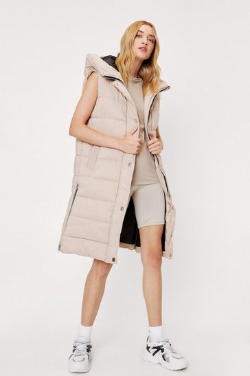 Stone Hooded Sleeveless Midi Length Padded Jacket