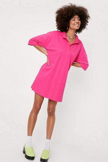 Bright pink Short Sleeve Polo Oversized Mini Dress