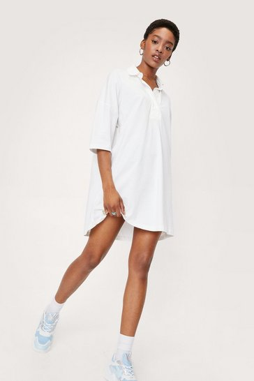 Ecru Short Sleeve Polo Oversized Mini Dress