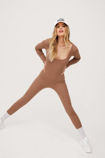 Mocha Long Sleeve Scoop Neck Unitard