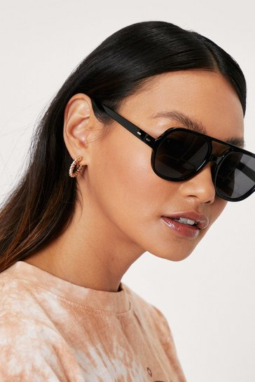 Black Tinted T Bar Round Aviator Sunglasses