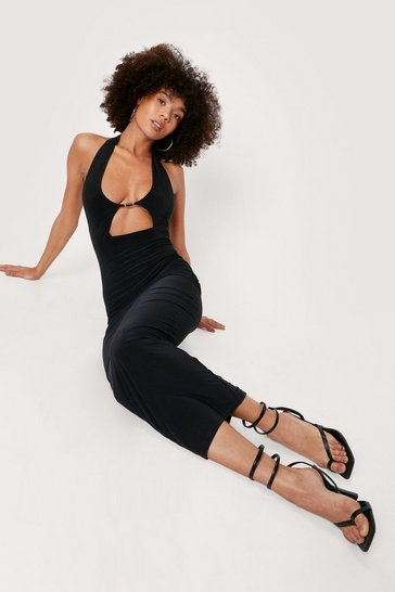 Black Slinky Halter Neck Cut Out Maxi Dress