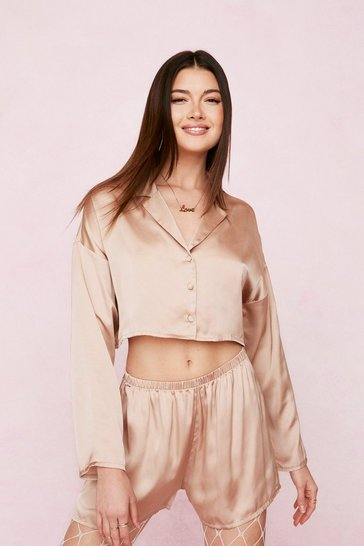 Bronze Satin Oversized Pajama Shirt and Shorts Set
