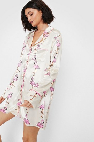 Lemon Satin Flamingo Print Long Sleeve Night Dress
