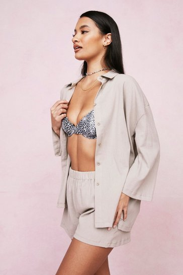 Stone Crinkle Shirt and Cover Up Shorts Set