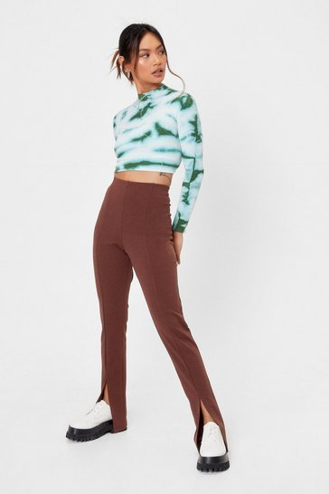 Chocolate Petite High Waisted Split Hem Flare Pants