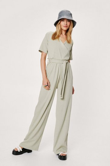 Sage Short Sleeve V Neck Wrap Wide Leg Jumpsuit