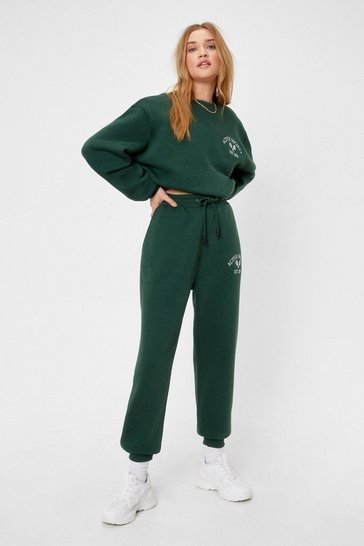 Green Active Society Embroidered Relaxed Joggers