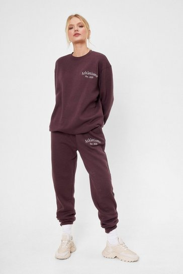 Chocolate Athletisme Embroidered High Waisted Joggers