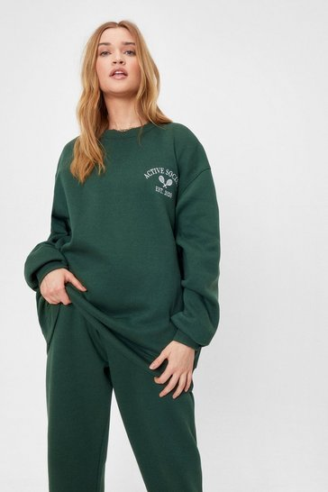 Green Active Society Embroidered Oversized Sweatshirt