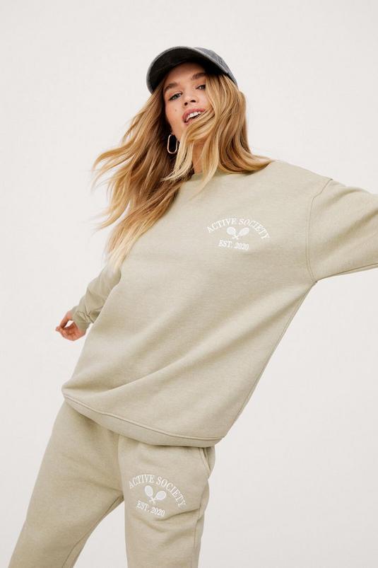 Active Society Embroidered Oversized Sweatshirt   NastyGal