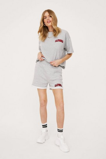 Grey marl California Embroidered Sweat Shorts