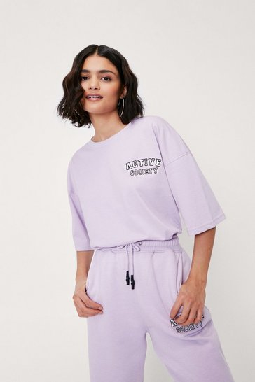 Lilac Active Society Embroidered Graphic T-Shirt