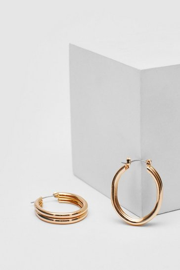 Gold Engraved Double Hoop Earrings