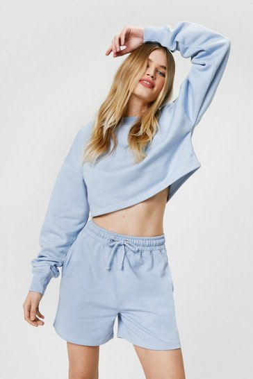 Blue Oversized Adjustable Drawstring Jogger Shorts